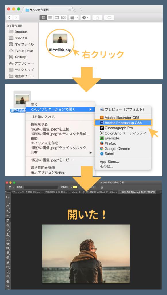 右クリック→Photoshopで開く