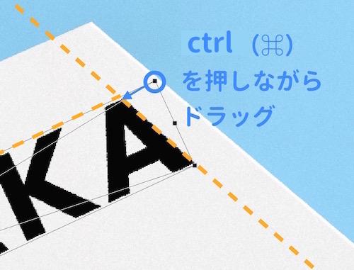 文字画像の角を自由変形