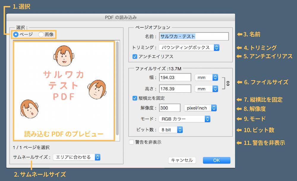PDFを読み込みの設定