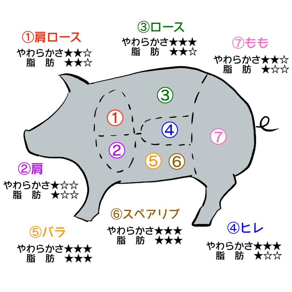 豚肉部位の位置と特徴