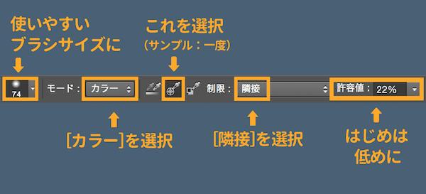 色の置き換えツールの設定