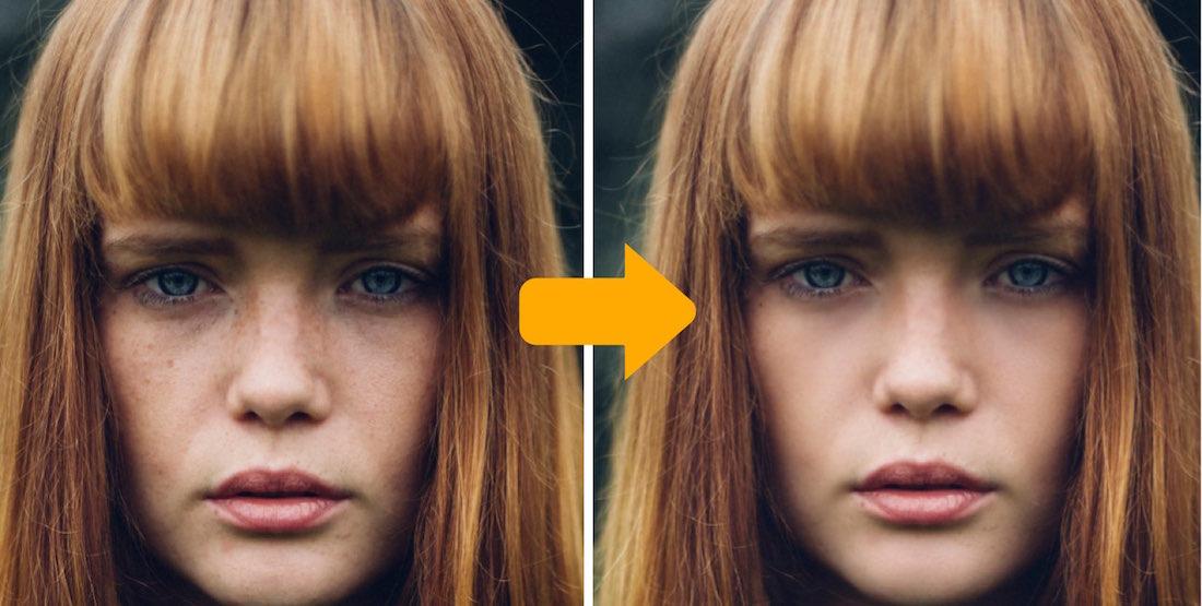 肌補正前と補正後のイメージ