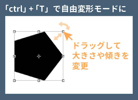 ctrl + Tで図形を自由変形