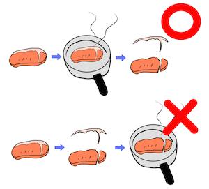 ステーキ肉の脂身をとるなら焼いてから