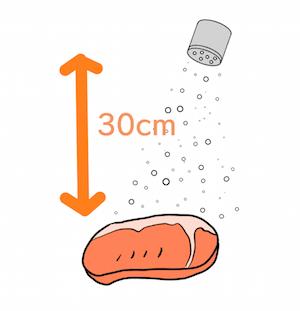塩コショウは30cmの高さから