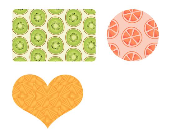 パターンが塗られた図形が挿入される