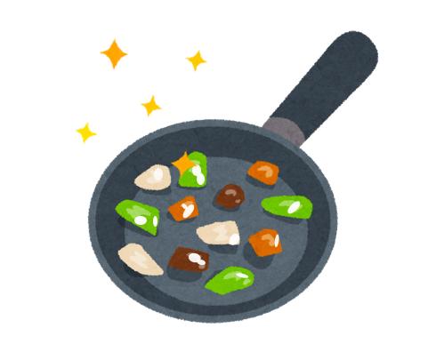 油で野菜がコーティングされる