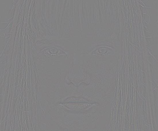 減算で女性の画像が灰色に