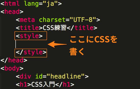 styleタグ内にCSSを書く