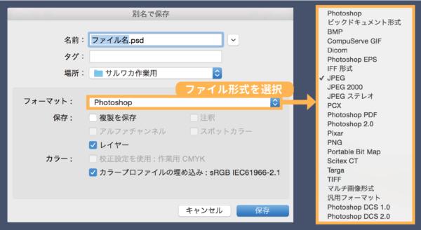 ファイル形式を選択する