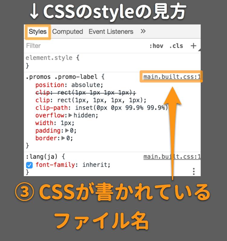 CSSが書かれているファイル名