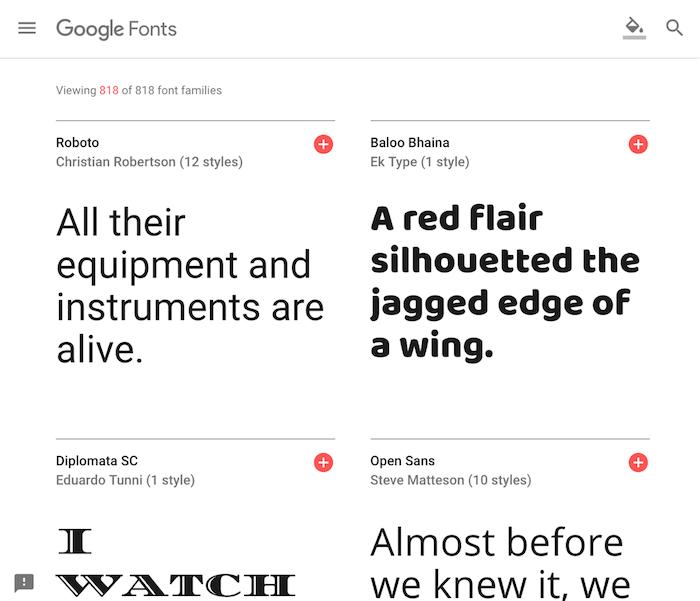 google fontの画面