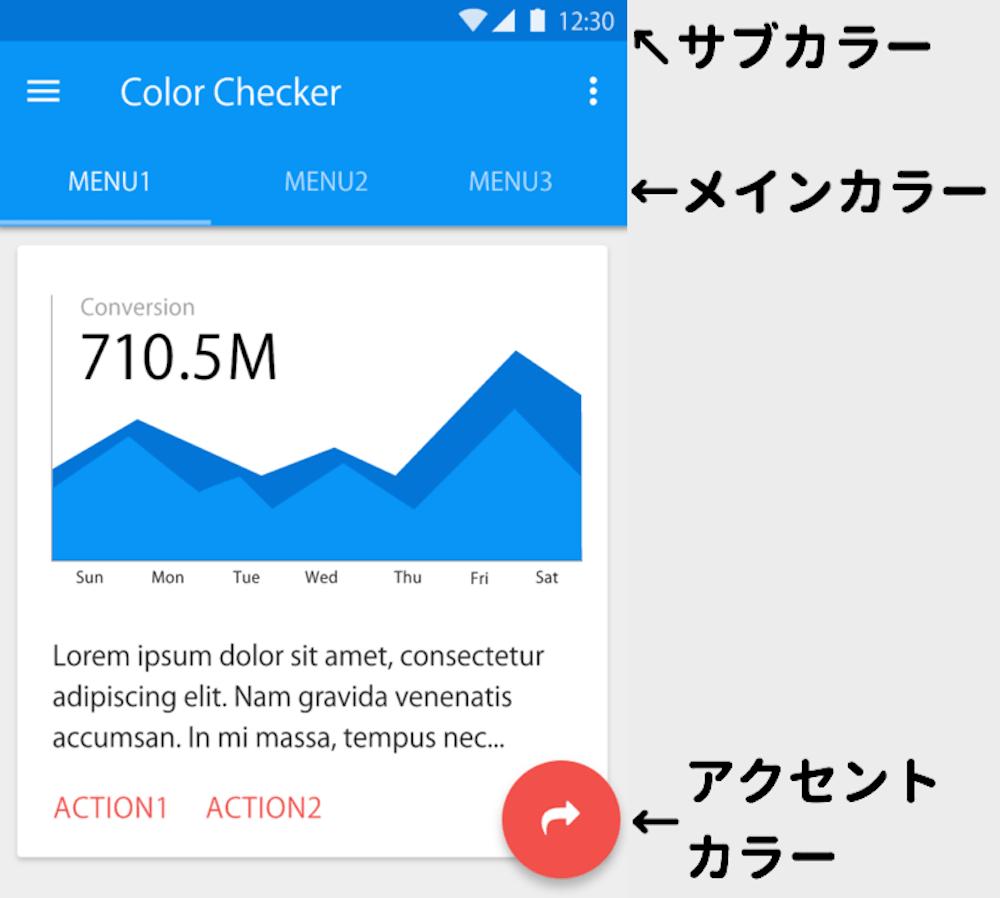 マテリアルデザインの色の使い方