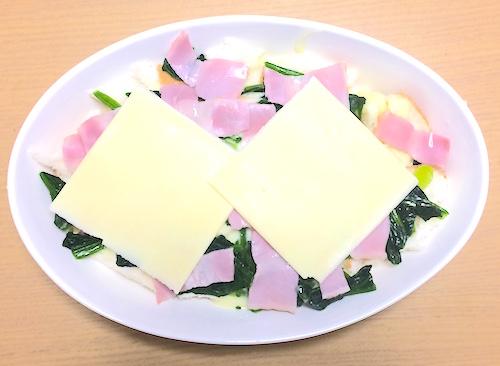チーズをのせてトースターで焼く