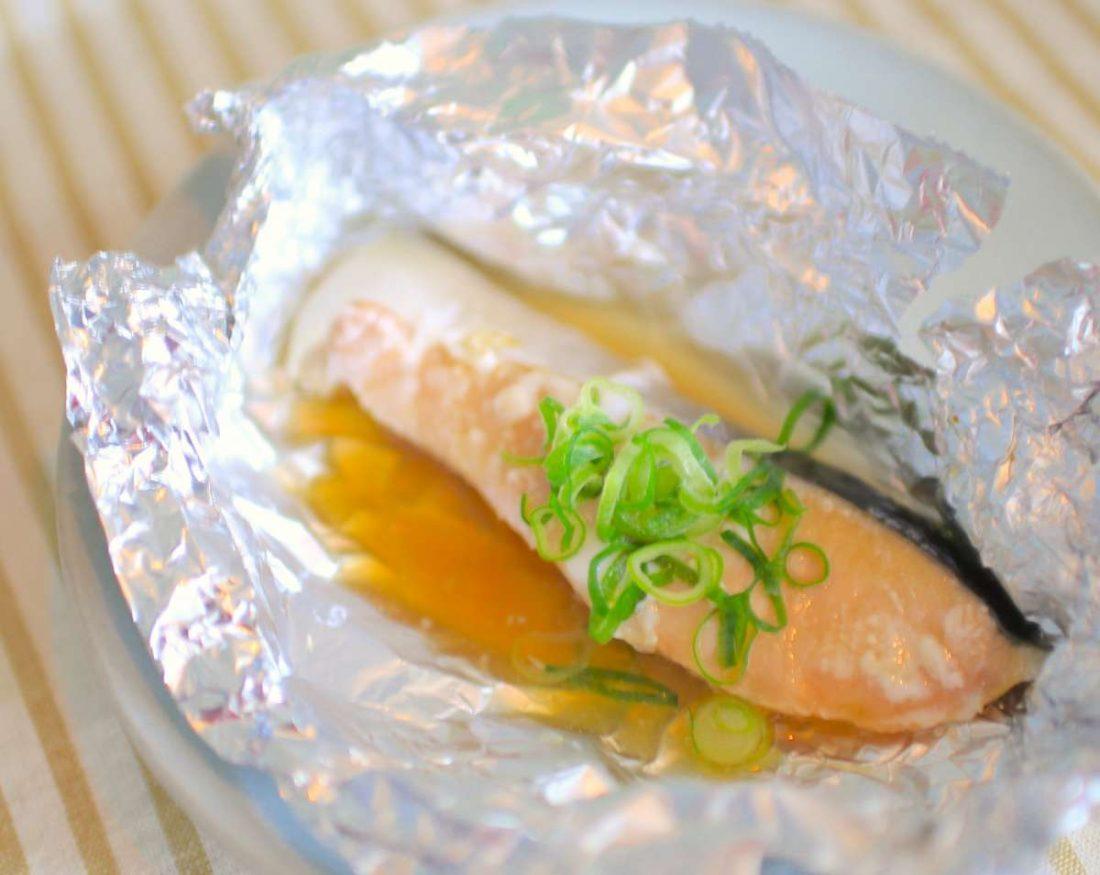 鮭のホイル焼き ネギぽんレシピ