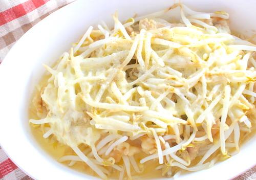 もやしと豚肉の味噌チーズ完成