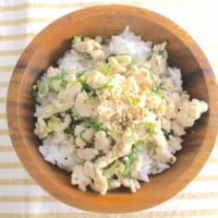 塩とりそぼろ丼のレシピ。刻みネギと鶏ひき肉で作る簡単ごはん