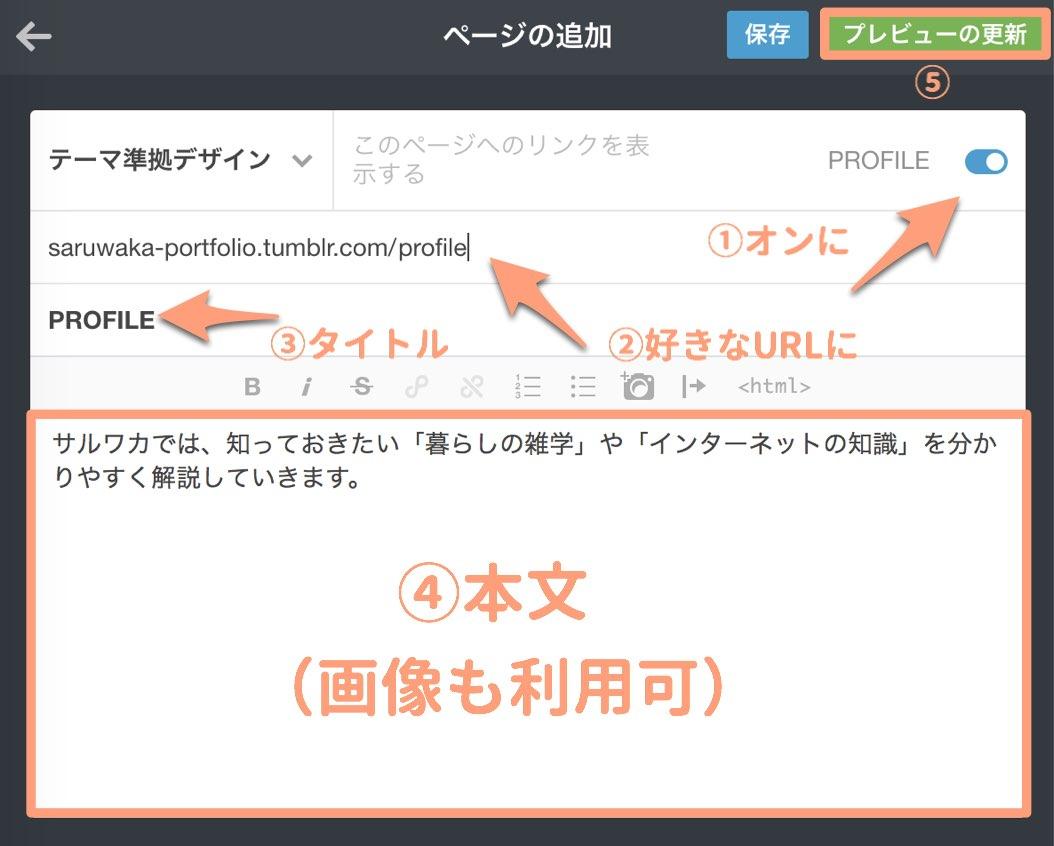 プロフィールページを作成