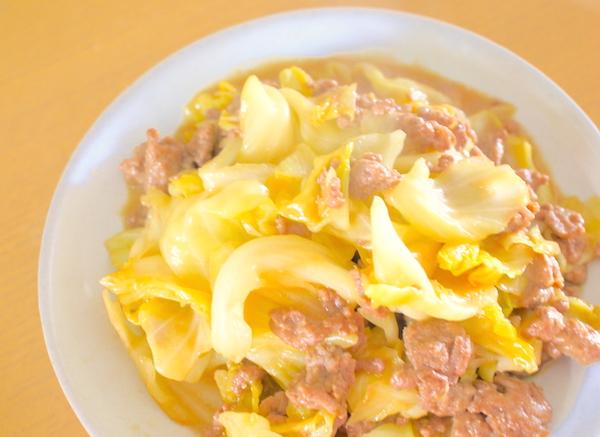 ひき肉とキャベツの甘味噌炒め完成