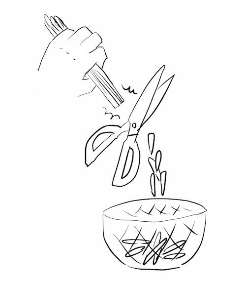 葉物野菜はキッチンバサミできる