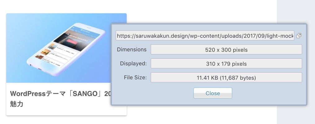 Image Size Infoの画面