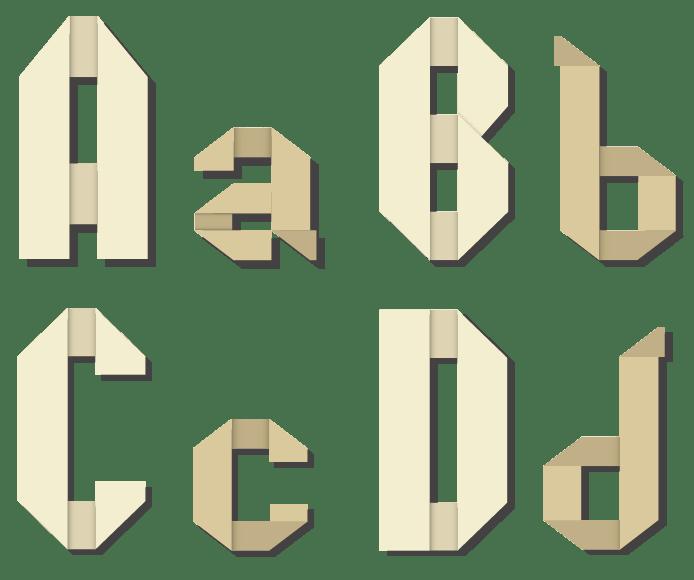 折り紙風のフォント