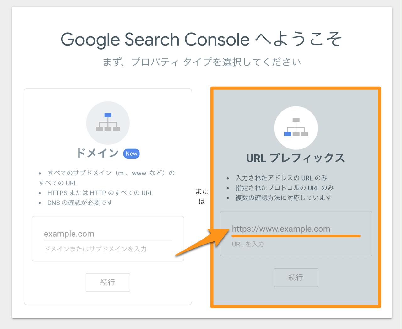 URLプレフィックスを選びURLを入力