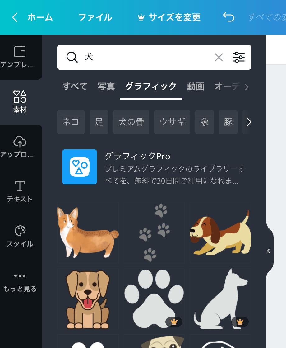 「犬」の検索結果からグラフィックに絞る