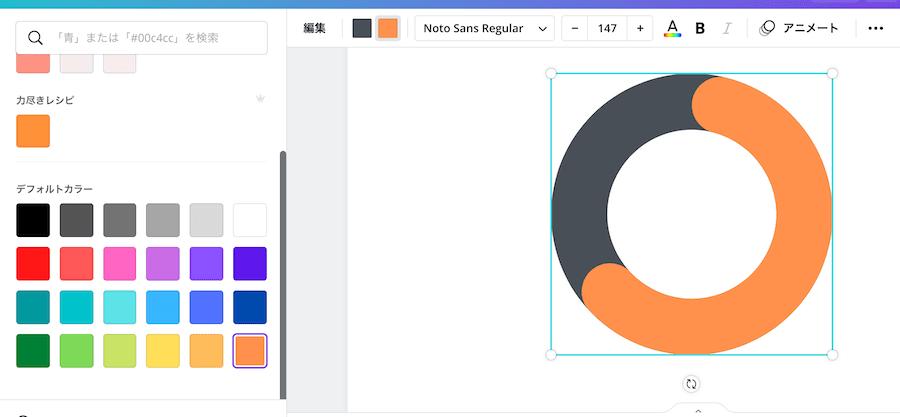 Canvaのグラフの色が変更された